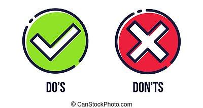 Creative vector illustration of green tick, red cross ...