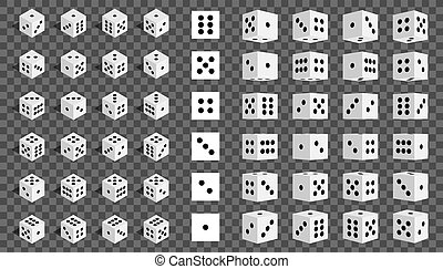 Creative vector illustration of isometric 3d gambling dice combination isolated on transparent background. Art design game. Abstract concept graphic casino 24 turns cube element
