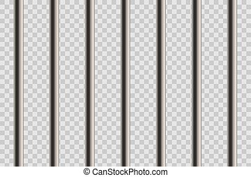 Creative vector illustration of metal realistic detailed prison bars window isolated on transparent background. Art design jail break way out to freedom. Abstract concept graphic element