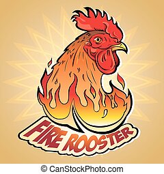 Fire Rooster - Creative Vector illustration of New Year's...