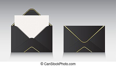 Creative vector illustration of open paper envelope isolated on background. For message, mail, email and business document. Art design. Abstract concept graphic element. Realistic mockup.