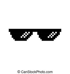 Creative vector illustration of pixel glasses of thug life...