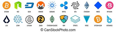 Creative vector illustration of popular crypto currency blockchain logo coin set isolated on transparent background. Art design cryptocurrency icon, symbol. Abstract concept graphic bitcoin element.