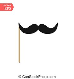 Creative vector illustration of realistic black mustaches on...