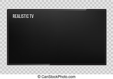 Creative vector illustration of realistic TV screen, lcd panel, isolated on transparent background. Computer monitor display. Design television blank mockup template. Abstract concept graphic element.