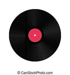 Creative vector illustration of realistic vinyl record disk in paper case box isolated on background. Front view. Art design blank LP music cover mockup template. Concept graphic disco party element