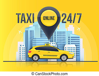 Creative vector illustration of taxi online service banner, urban city skyscrapers isolated on transparent background. Art design mobile app template. Abstract concept graphic element