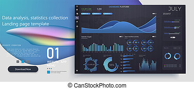 Creative vector illustration of web dashboard infographic template. Art design annual statistics graphs. Abstract concept graphic UI, UX. Information element.