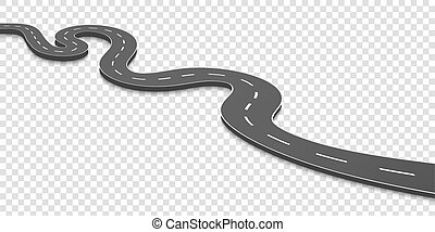 Creative vector illustration of winding curved road. Art design. Highway with markings. Direction, transportation set. Abstract concept graphic element. Way location infographic template. Pin pointer.