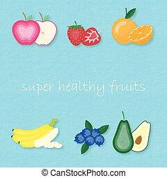 Creative vector illustration set of most popular fruits.
