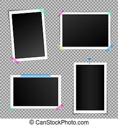 Creative vector illustration set of square photo frame with shadows isolated on background. Retro art design. Realistic mockups. Color adhesive tapes, push pins. Abstract concept graphic element