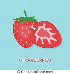 Creative vector illustration strawberry fruits and strawberries half.