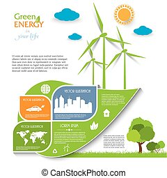 Creative vector Infographic design with wind turbines, green...