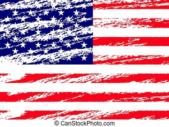 Creative Vector Isolated USA Flag In Grunge Style.