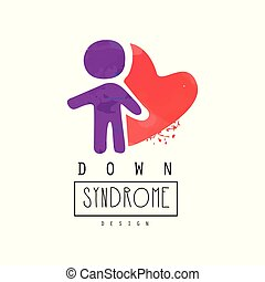 Creative vector logo with purple human and red heart. Down Syndrome. Autism Awareness Day. Design for brochure, poster or charitable organization