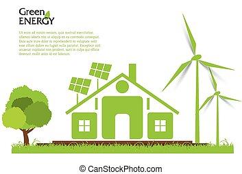 Creative vector renewable energy concept. Wind turbines