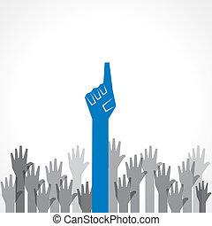 Creative victory hand
