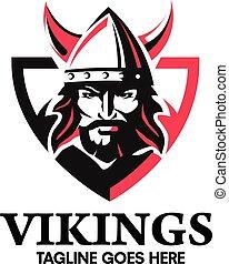 creative Viking head warrior