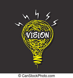 creative vision word on sketch bulb design vector