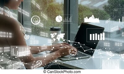 Creative visual of business data analyzing technology . Concept of digital data for marketing analysis and investment decision making .