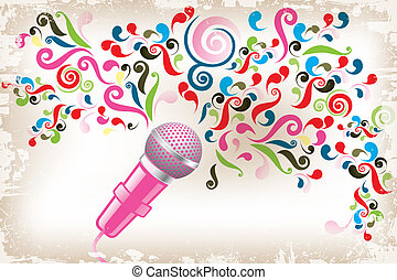 Art poster of creative voice - eps10 vector illustration shows microphone with colorful swirls as creative voice
