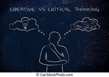 creative vs critical thinking, man with contrasting thought...