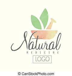 Creative watercolor logo with pestle, mortar and green leaves. Alternative medicine with use of herbal remedies. Natural treatment and health concept. Vector illustration isolated on white background.