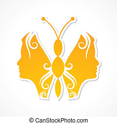 Creative woman face make butterfly