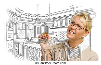 Woman With Pencil Drawing Custom Kitchen Design - Creative...
