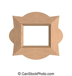 Creative wooden frame. Vector illustration of an empty photo frame
