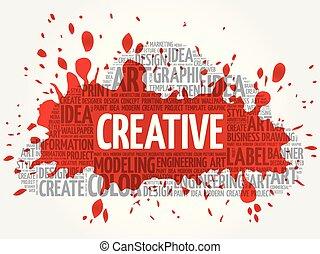 CREATIVE word cloud, creative concept - CREATIVE word cloud,...