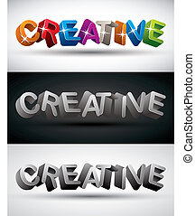 Creative word made with 3d letters, vector set.