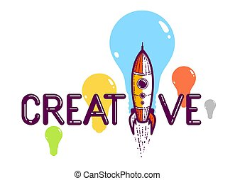 Creative word with rocket instead of letter I, ideas and creativity concept, vector conceptual logo or poster made with special font.