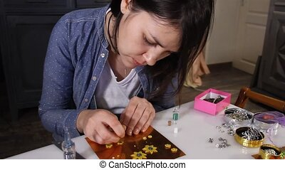 creative work girl - young woman artist creating hand made...