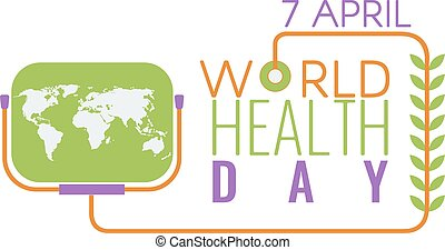 Creative World Health Day Greeting logo, sign, symbol. Stock vector