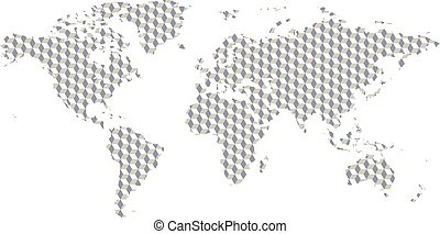 Creative world map with strange pattern