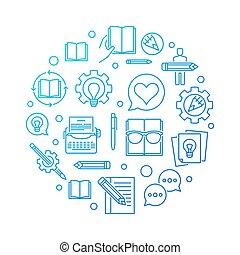 Creative writing blue vector round line illustration -...