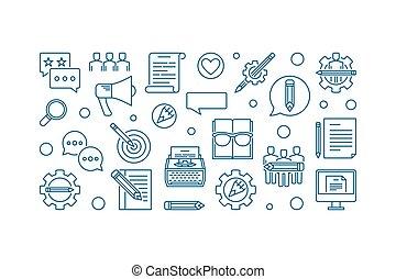 Creative writing vector concept horizontal outline banner -...