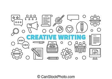 Creative writing vector line minimal horizontal banner -...