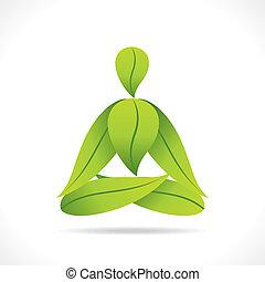 creative yoga pose design by leaf
