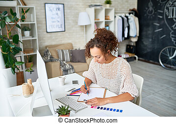 Creative Young Woman Working from Home