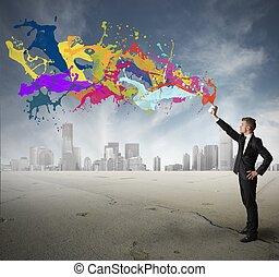creatividad, en, empresa / negocio