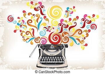 creatividad, -, máquina de escribir, con, resumen, remolinos