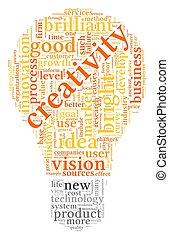 creatividad, palabras, en, etiqueta, nube