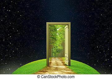 creatividad, tierra, y, imaginación, abierto, puerta