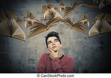 creatividad, vuelo, imaginación, pensativo, libros, niño
