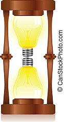 creatività, clessidra, con, lampadina