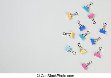 creatività, colorito, affari, spazio, copia, fondo., scrivania, foto, disposizione, clip, vista, ufficio, set, cima, appartamento, desk., design., concepts., carta, clip., pastello, workspace, creativo