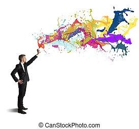 creatività, in, affari