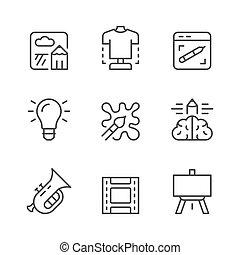 creatività, linea, set, arte, icone